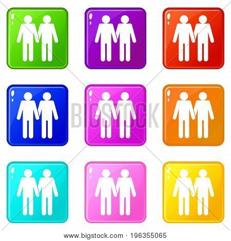 Two men gay icons of 9 color set isolated vector illustration