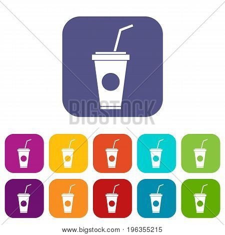 Paper cup with straw icons set vector illustration in flat style in colors red, blue, green, and other