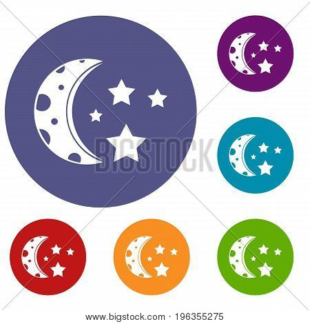 Starry night icons set in flat circle red, blue and green color for web