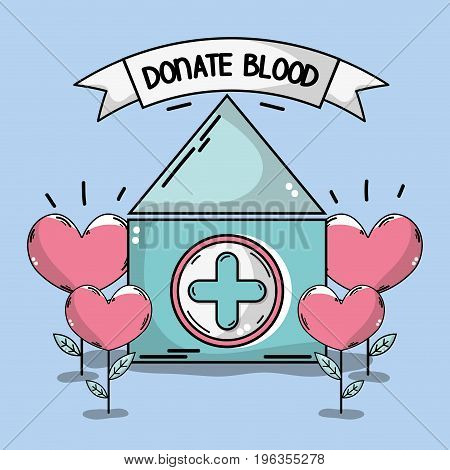 blood donation house with heart plant vector illustration