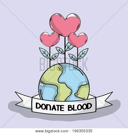global blood donation with heart plant vector illustration