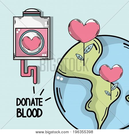 transfusion tool to global blood donation vector illustration