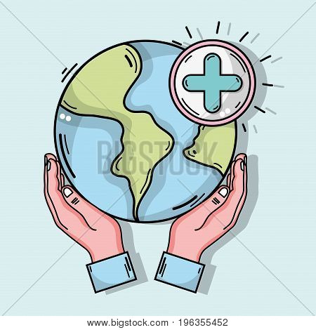 hands with global planet and cross clinical symbol vector illustration