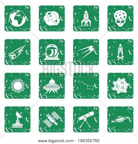 Space icons set in grunge style green isolated vector illustration