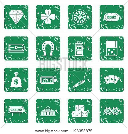 Casino icons set in grunge style green isolated vector illustration