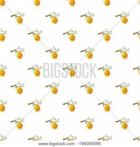 Beehive on tree pattern seamless repeat in cartoon style vector illustration