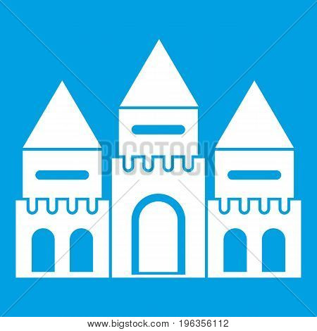 Children house castle icon white isolated on blue background vector illustration