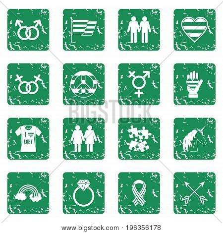 Lgbt icons set in grunge style green isolated vector illustration