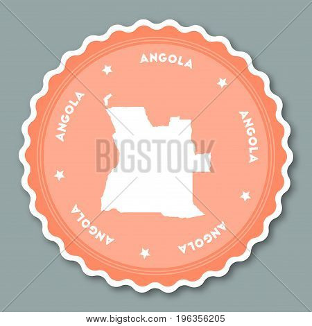 Angola Sticker Flat Design. Round Flat Style Badges Of Trendy Colors With Country Map And Name. Coun