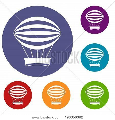 Striped retro hot air balloon icons set in flat circle red, blue and green color for web