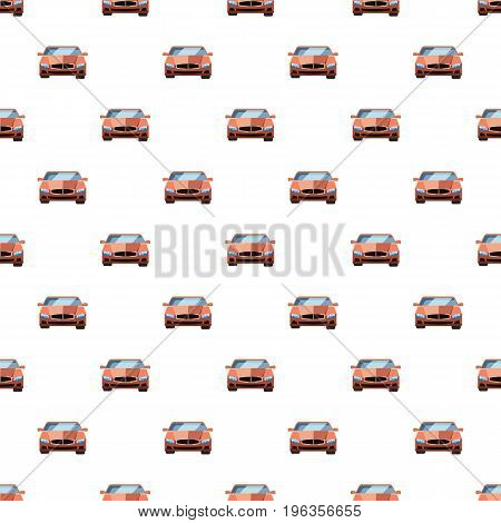 Red car, front view pattern seamless repeat in cartoon style vector illustration