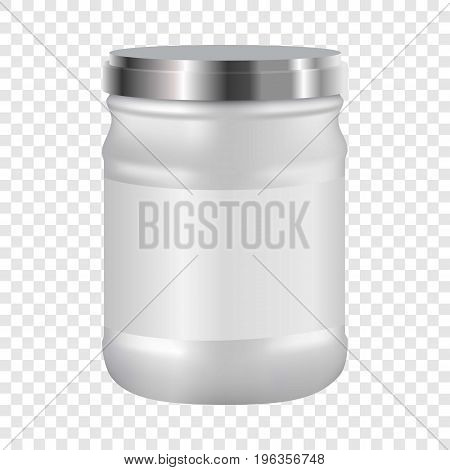 White blank cosmetic with silver lid mockup. Realistic illustration of white blank cosmetic with silver lid vector mockup for web