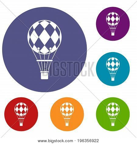 Checkered air balloon icons set in flat circle red, blue and green color for web