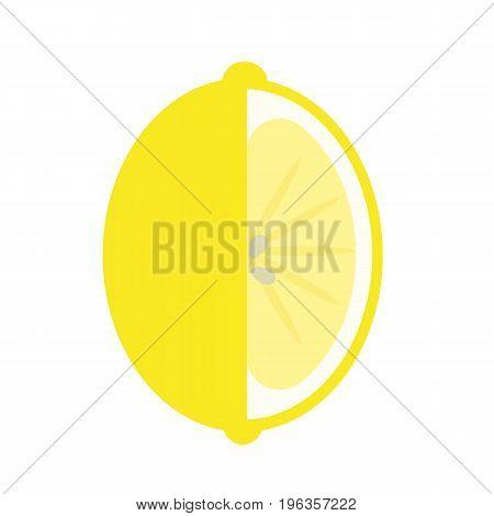 Lemon juicy fresh fruit flat icon, vector sign, colorful pictogram isolated on white. Citrus fruit symbol, logo illustration. Flat style design