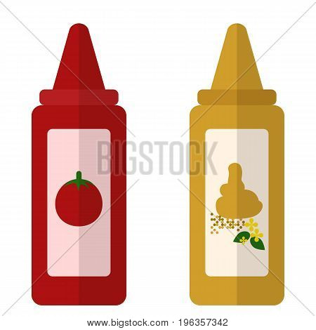 Ketchup and mustard flat icon, vector sign, colorful pictogram isolated on white. Symbol, logo illustration. Flat style design