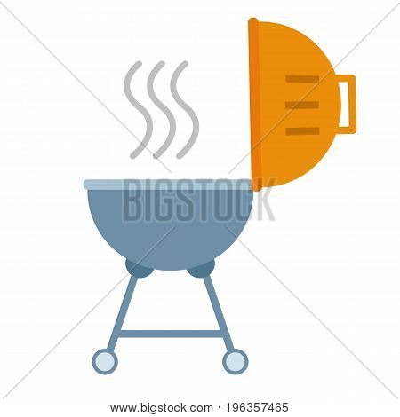 Portable round barbecue flat icon, BBQ grill device for picnic vector sign, colorful pictogram isolated on white. Cookout event concept Symbol, logo illustration. Flat style design