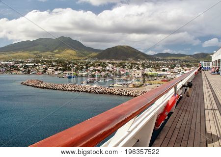 Mountain and ocean views from the deck of a cruise ship on the tropical island of St. Kitts
