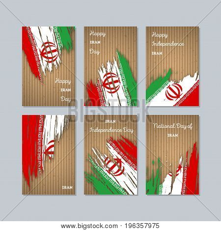 Iran Patriotic Cards For National Day. Expressive Brush Stroke In National Flag Colors On Kraft Pape