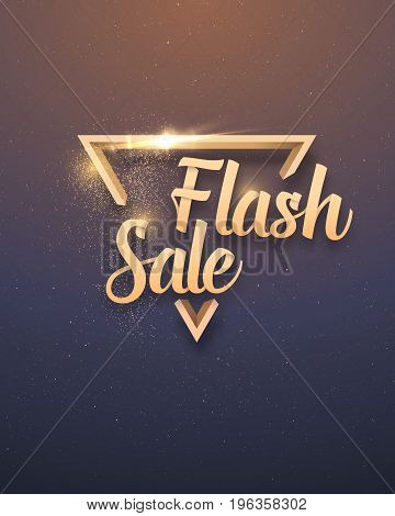 Illustration of Vector Sale Banner Sticker Template. Flash Sale Lettering with Gold Glitter Effect