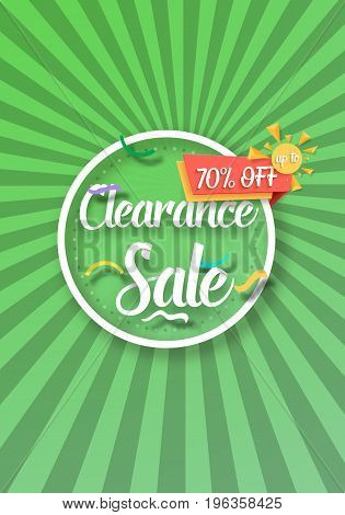 Illustration of Clearance Sale Vector Poster with Sunburs Lines on Background. Bright Sale Flyer Template