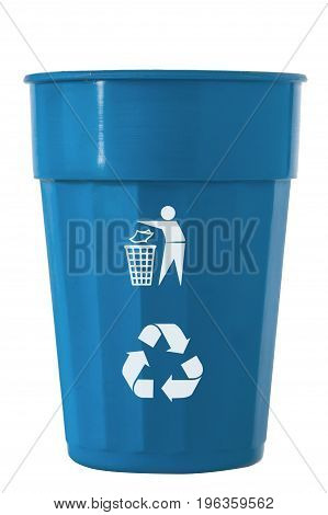 Trash Bin with recycle logo isolated on white with path.