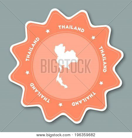 Thailand Map Sticker In Trendy Colors. Star Shaped Travel Sticker With Country Name And Map. Can Be
