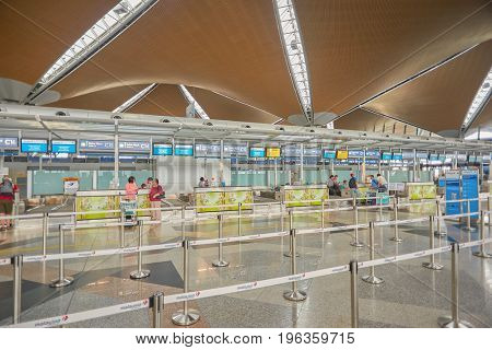 KUALA LUMPUR, MALAYSIA - CIRCA MAY, 2014: check in area at Kuala Lumpur International Airport. KLIA is Malaysia's main international airport and one of the major airports in South East Asia.