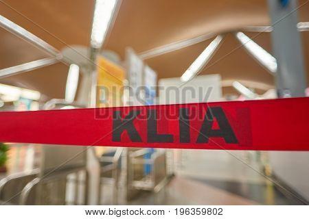 KUALA LUMPUR, MALAYSIA - CIRCA MAY, 2014: close up shot of KLIA sing at Kuala Lumpur International Airport.
