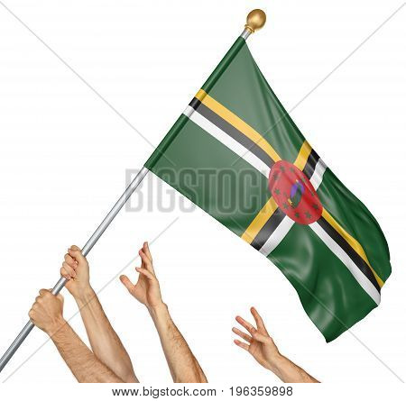 Team of peoples hands raising the Dominica national flag, 3D rendering isolated on white background