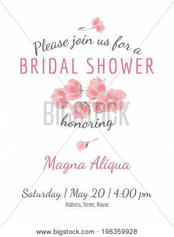 Invitation bridal shower card with cherry sakura flowers vector template - for invitations, flyers, postcards, cards and so on