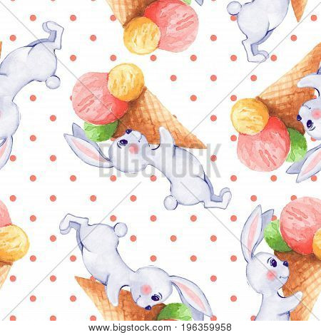 Seamless pattern with white rabbits and Ice Cream. Watercolor illustration