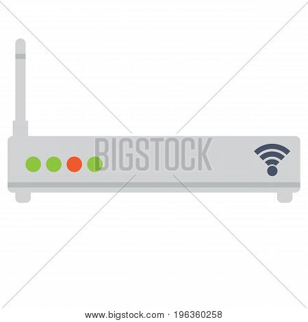 Wireless ethernet modem router vector illustration. Flat style design. Colorful graphics