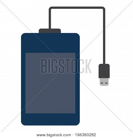 Portable hard drive disk vector illustration. Flat style design. Colorful graphics