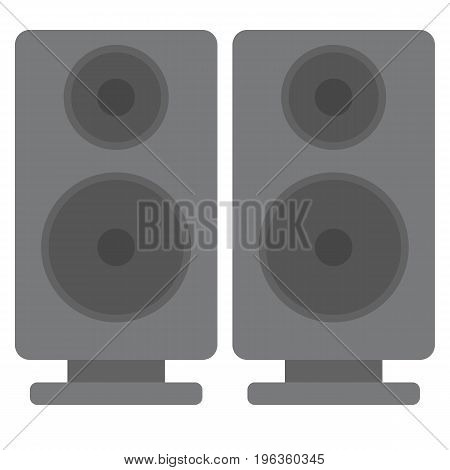 Black acoustic sound speakers vector illustration. Flat style design. Colorful graphics