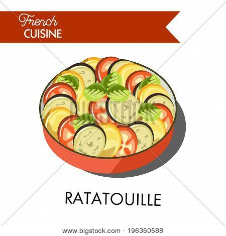 Delicious ratatouille famous meal from french cuisine. Vegetable dish that consists of baked zucchini, tasty tomatoes, spicy onion and sweet pepper isolated vector illustration on white background.