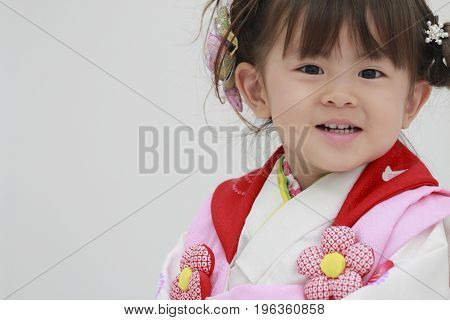 Japanese Girl On Seven-five-three Festival (3 Years Old)