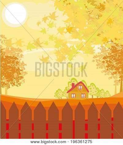 Beautiful autumn rural sunset landscape , vector landscape