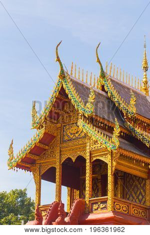 Thai Beautiful Chapel Of Wat Phrathat Hariphunchai Woramaha Vihan, Lamphun, Thailand.