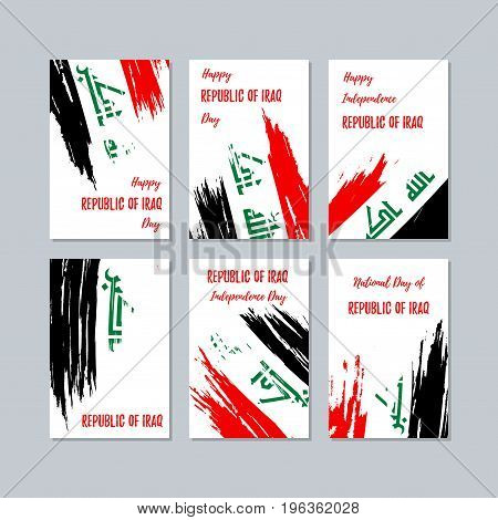 Republic Of Iraq Patriotic Cards For National Day. Expressive Brush Stroke In National Flag Colors O