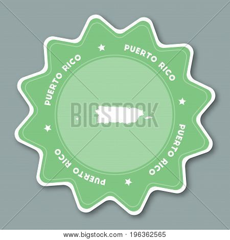 Puerto Rico Map Sticker In Trendy Colors. Star Shaped Travel Sticker With Country Name And Map. Can