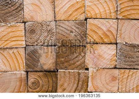 Pile of wood showing the sawn edges and the patterned wood grain