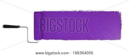 Paint roller with long purple stroke isolated over white - Stitched from two images