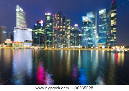 Night blurred bokeh city light reflection Singapore abstract background