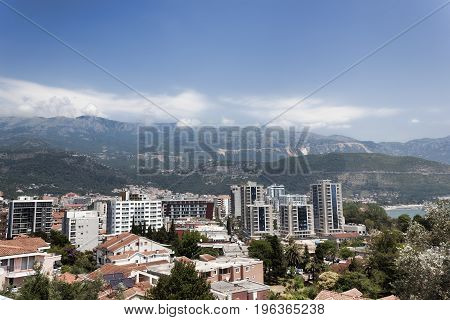 Panoramic view of the new part of Budva. Summer 2017