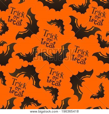 Halloween seamless pattern with bats and Trick or Treat sketch lettering on bright orange background. Modern styled flat design. Recomended for holiday banners, textile, paper cards, seasonal wallpapers, party decoration