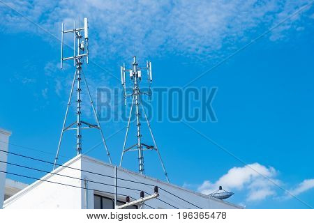 Antennas Of Cellular And Communication Systems With The Blue Sky