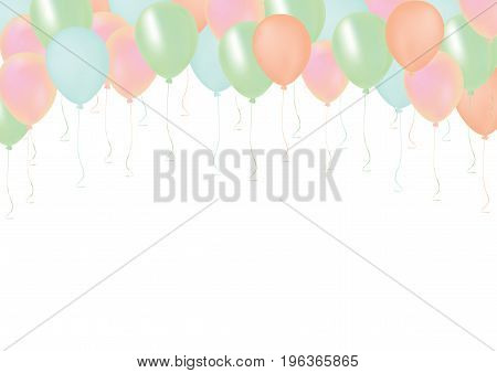Isolated pastel color pink orange green and blue celebrate air pastic balloons