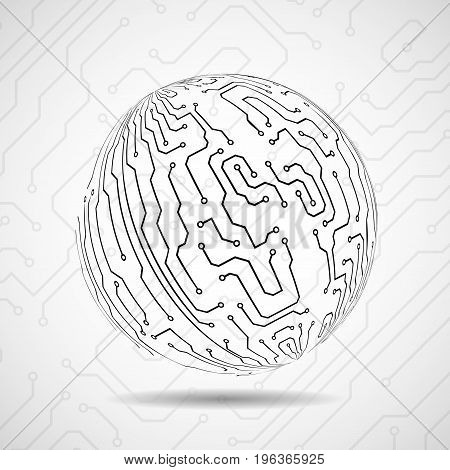 Abstract ball of circuit board. Vector illustration. Eps 10