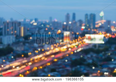 Aerial view city road blurred bokeh night view abstract background