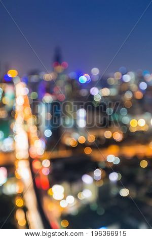 City light cross intersection aerial view at night abstract background